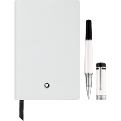 Montblanc Set with Bonheur Rollerball and Notebook #148 White