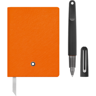 Montblanc Set with M Ultra Black Ballpoint Pen and Notebook #145 Lucky Orange lined