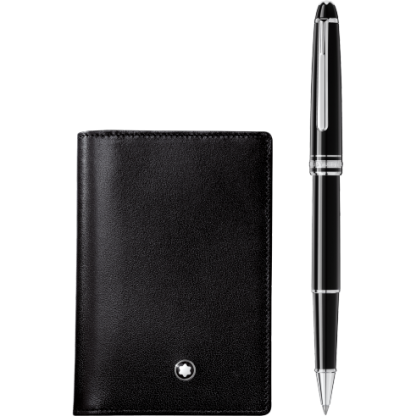 Montblanc Set with Meisterstück Platinum Classique Rollerball and Business Card Holder with Gusset