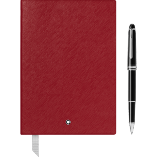 Montblanc Set with Meisterstück Platinum Classique Rollerball and Notebook #146 Red