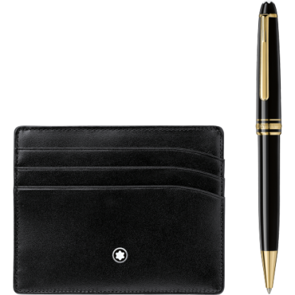Montblanc Set with Meisterstück Yellow Gold Classique Ballpoint Pen and Black Pocket Holder 6cc